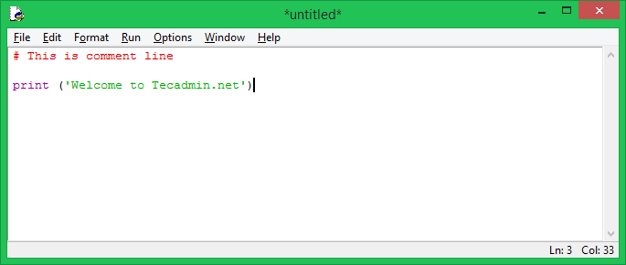 Create Python Script with IDLE