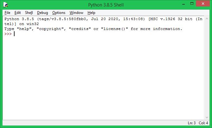 Running Python IDLE Window