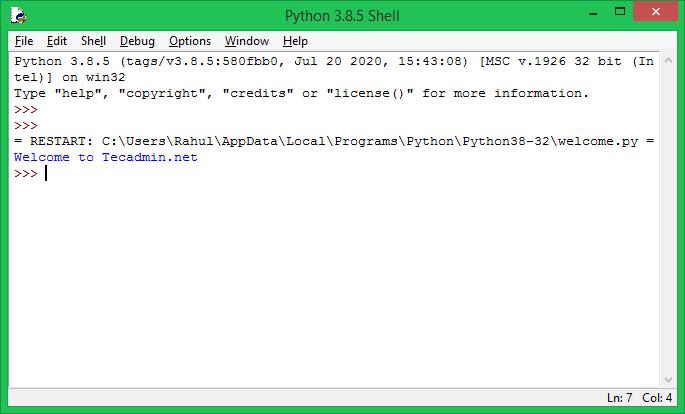 Running python scritp in IDLE
