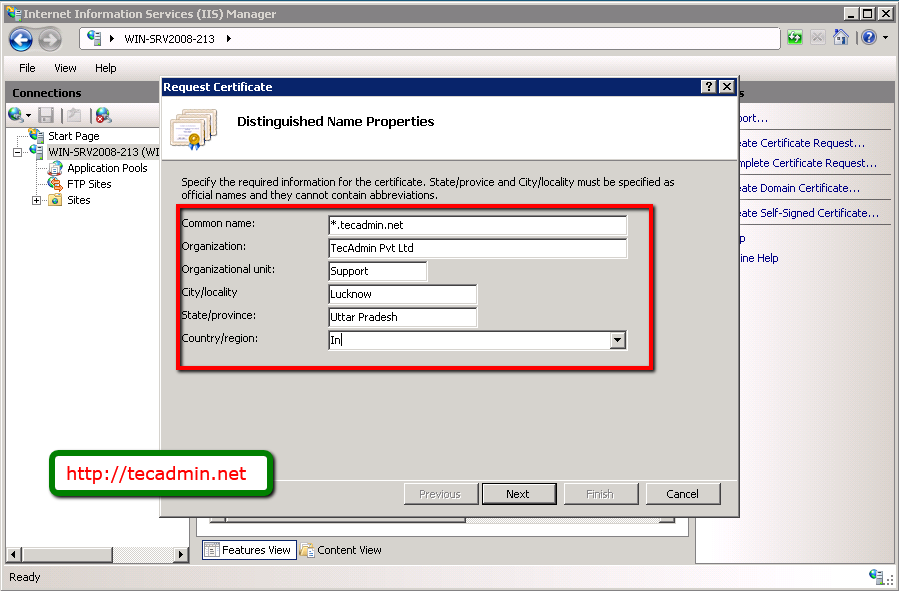 Create Csr For Wildcard Ssl On Windows Server 2008 Tecadmin