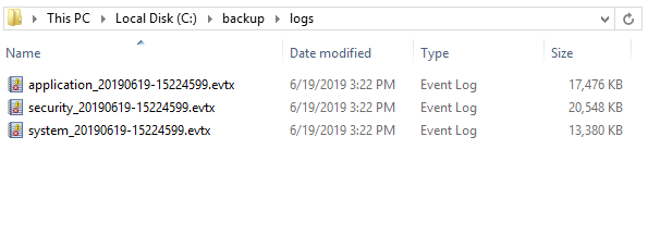 Script to Backup event logs
