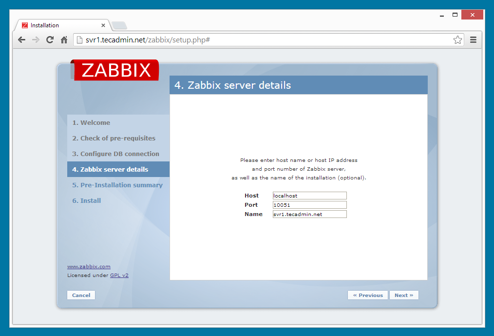 Zabbix installation step 4