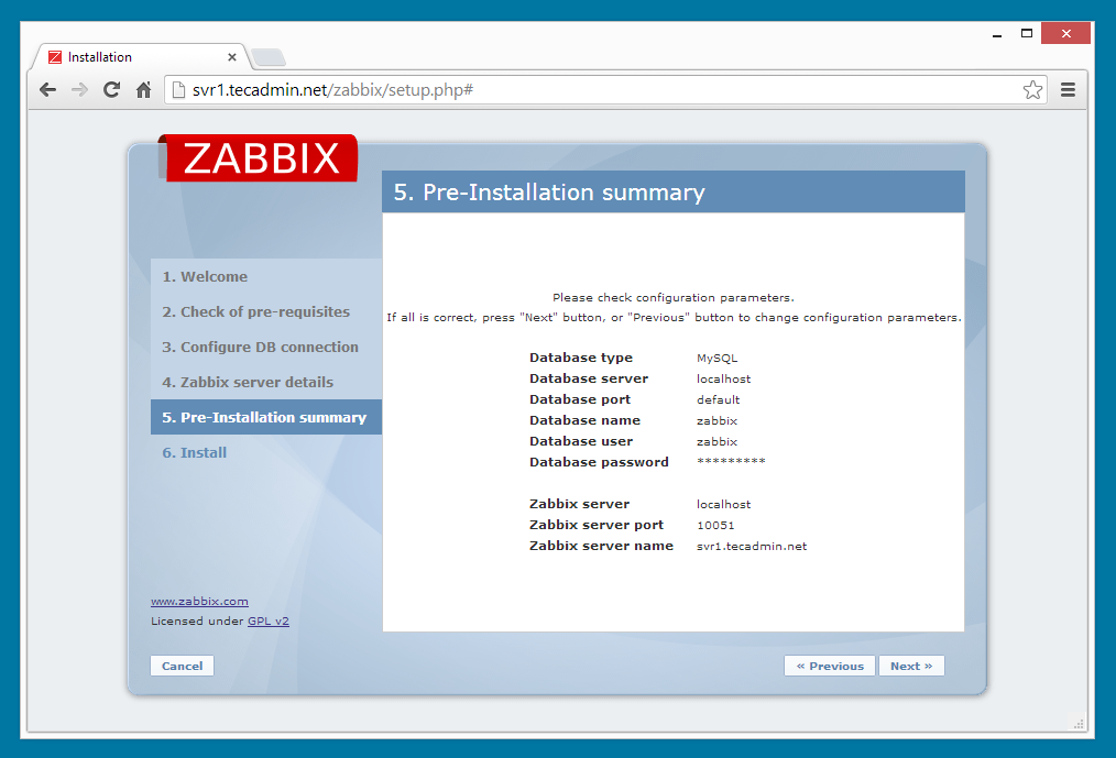 Zabbix installation step 5