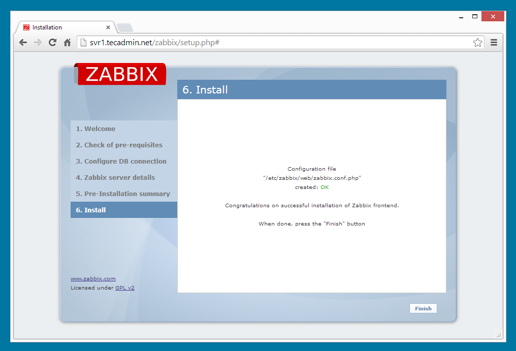Zabbix installation step 6