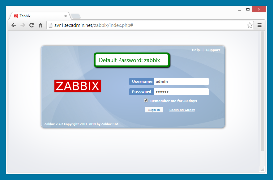 Zabbix installation step 7