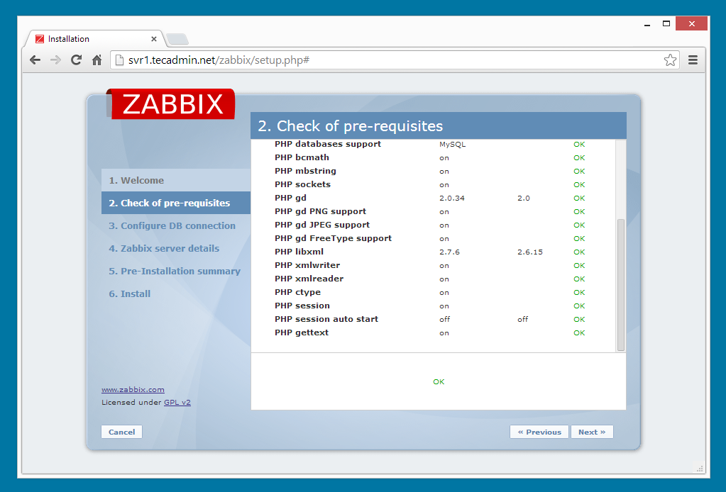 Zabbix installation step 2