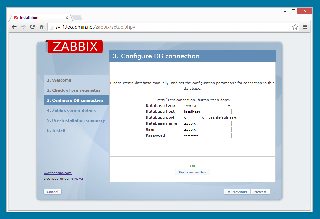 Zabbix installation step 3