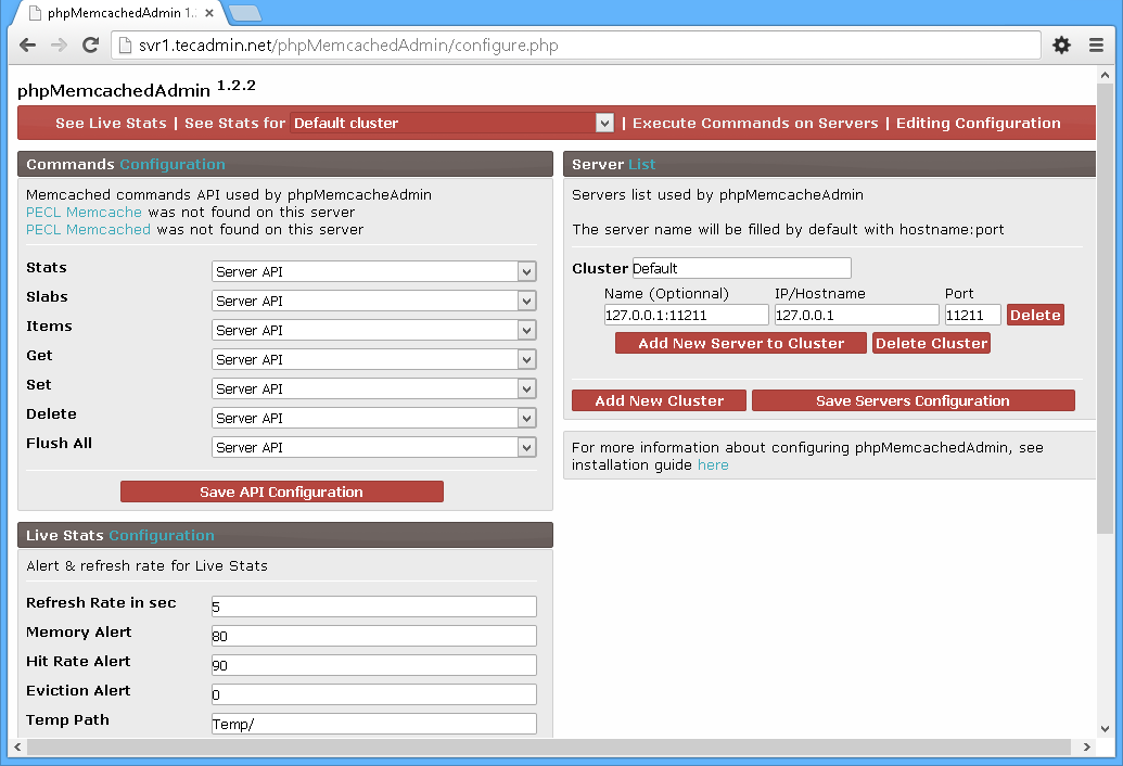 phpMemcachedAdmin-Configure