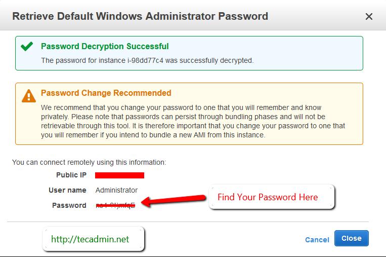 How to Get Default Windows Password in AWS Instance – TecAdmin