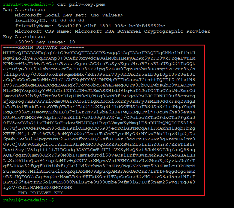 Extract Private Key from PFX