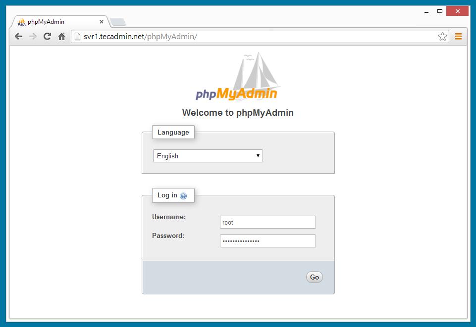 phpMyAdmin-Login-Screen