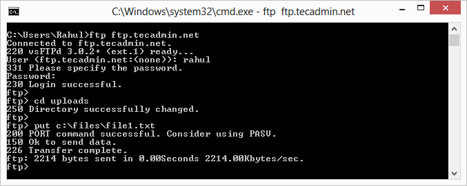 Download and Upload Files using FTP