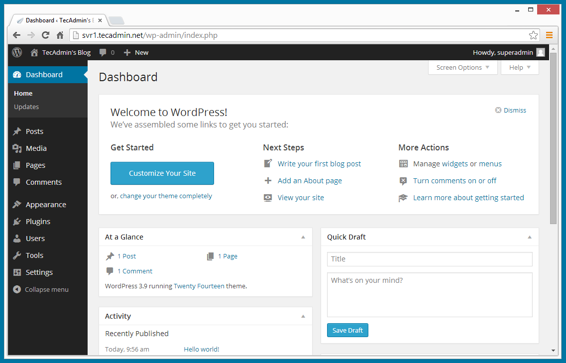 How To Install Latest WordPress on CentOS, RHEL & Fedora