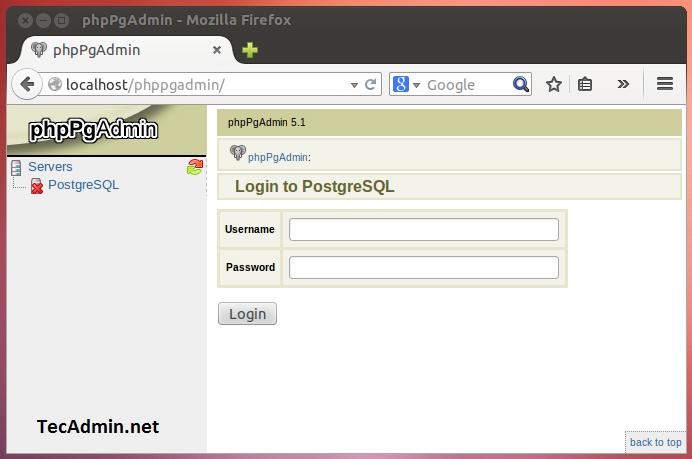 phpPgAdmin Login Screen