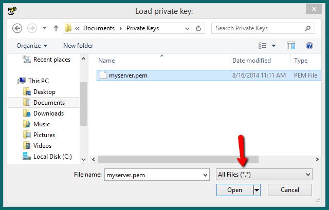 Select pem file