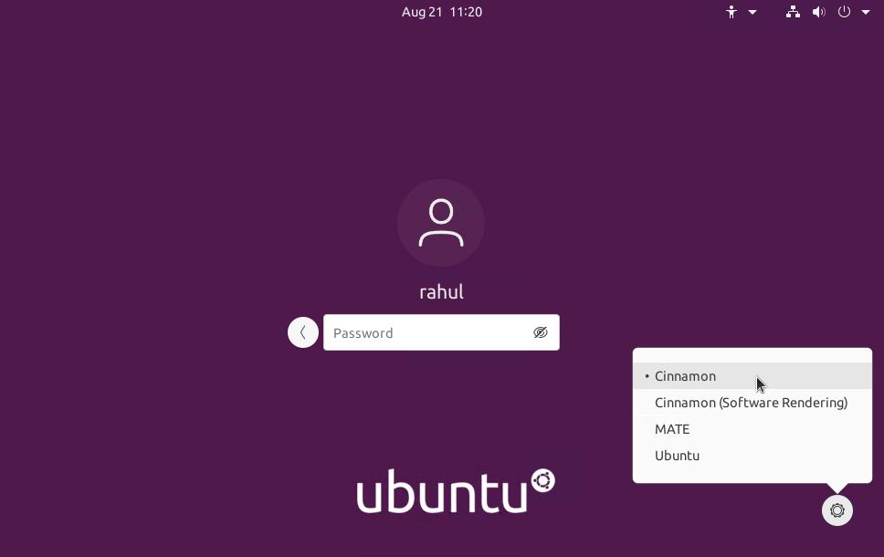 Select the Cinnamon Desktop on Ubuntu