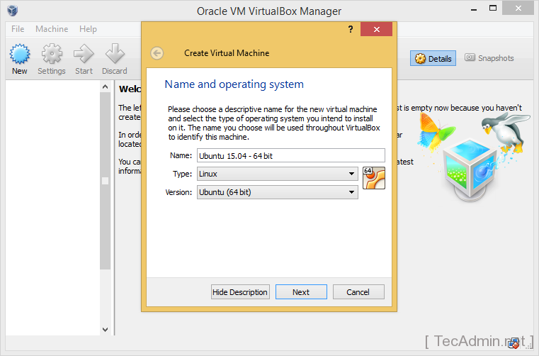 Install Ubuntu on VirtualBox Step 1