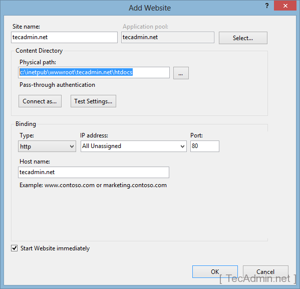 how to create a website with widgets in iis
