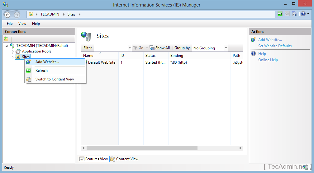 How to Create Website in IIS on Windows