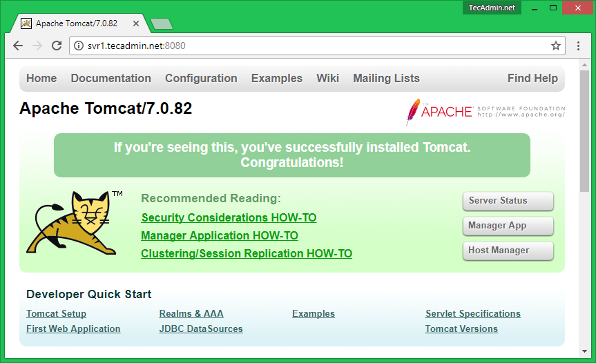 How To Install Tomcat 7 on CentOS/RHEL 7/6/5 - TecAdmin