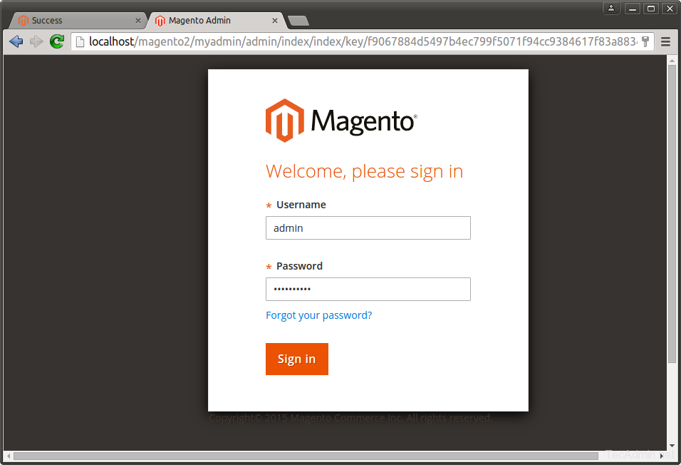 Install Magento 2 - Login Page