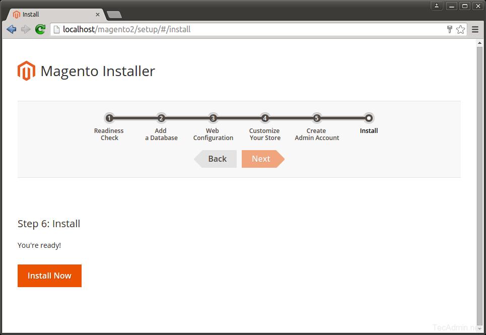 Install Magento 2 - Step 6