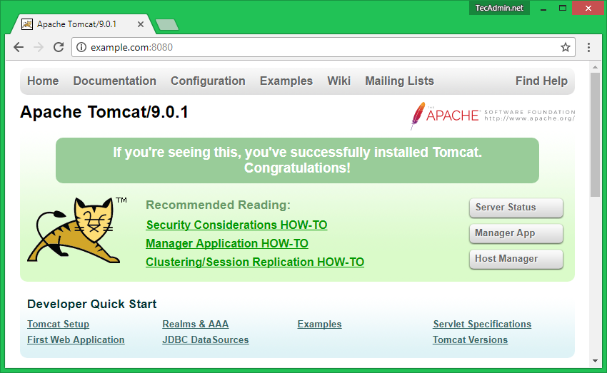 How to Install Apache Tomcat 9 on CentOS/RHEL 7/6, Fedora 30-25