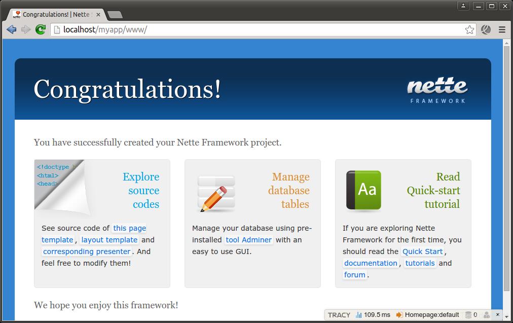Install Nette PHP Framework