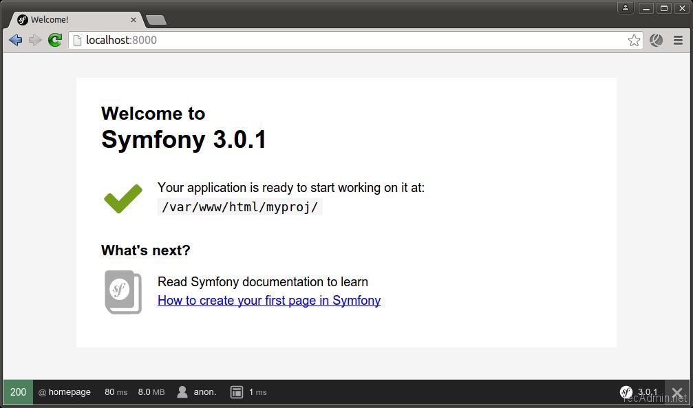 install symfony 3 framework