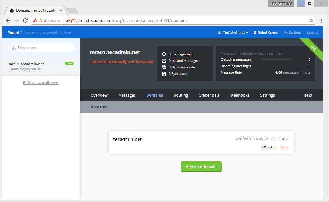 How to Install Postal Mail Server on Ubuntu 16 04 & 14 04 – TecAdmin