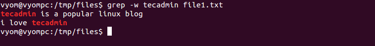 Linux grep command example 2