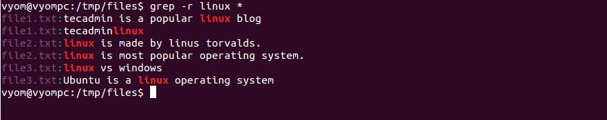 Linux grep command example 5