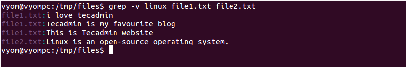 Linux grep command example 6