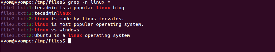 Linux grep command example 9