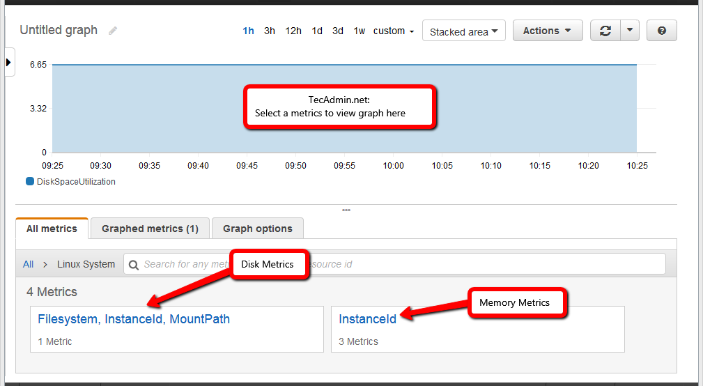 Monitor Memory and Disk Metrics EC2