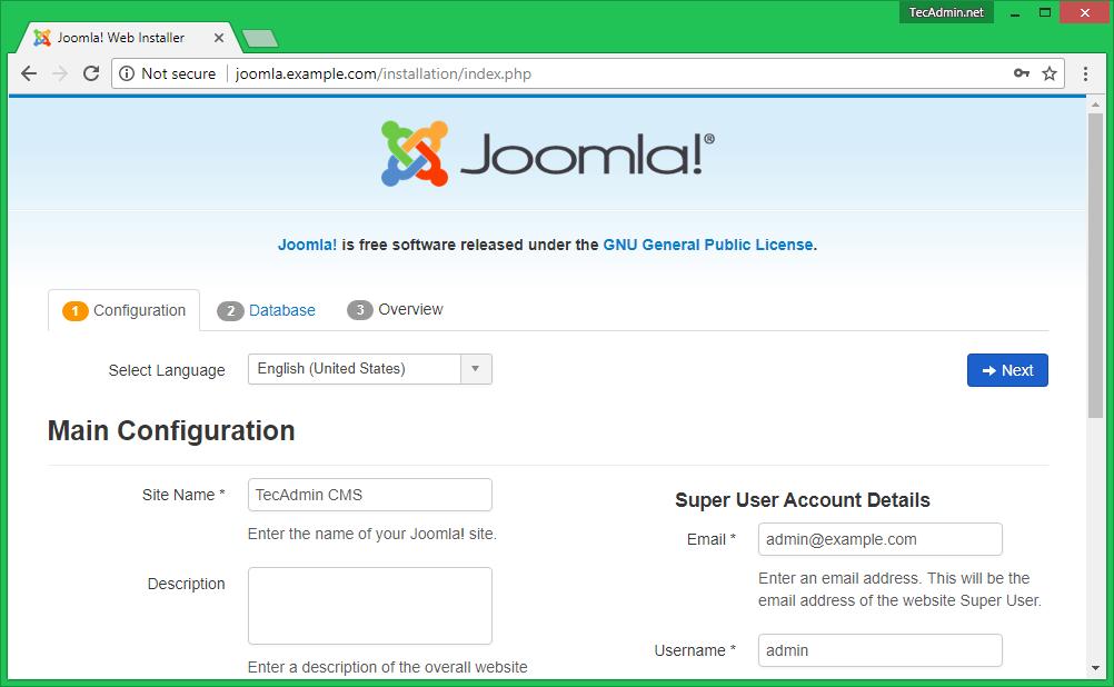Install Joomla Step 1.0