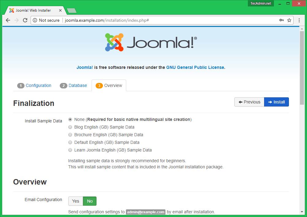 Install Joomla Step 3.1