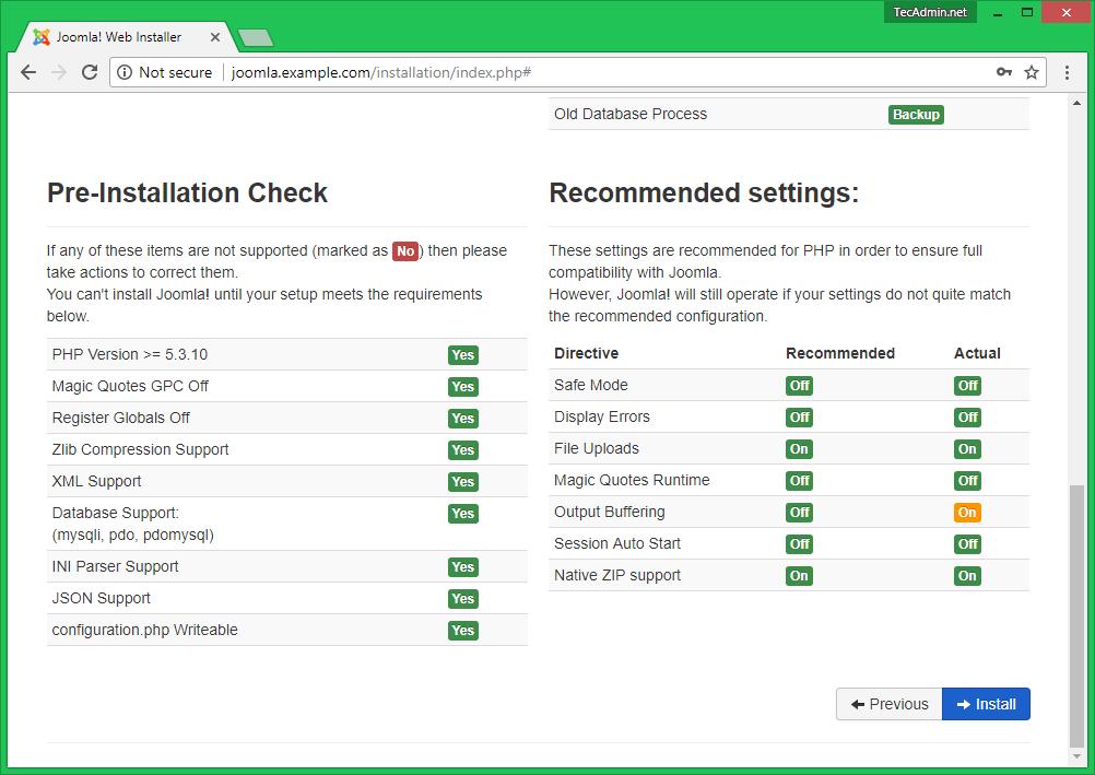 Install Joomla Step 3.2