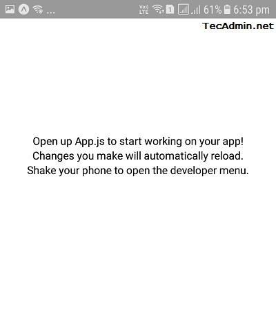 React Native App Default Screen