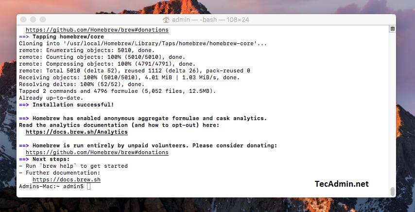 How to Install Homebrew on macOS – TecAdmin