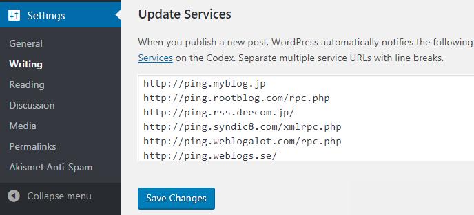 Update WordPress Ping List to Quick Index of Posts - TecAdmin