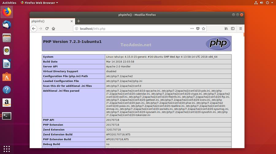 Install Lamp stack on ubuntu 18.04