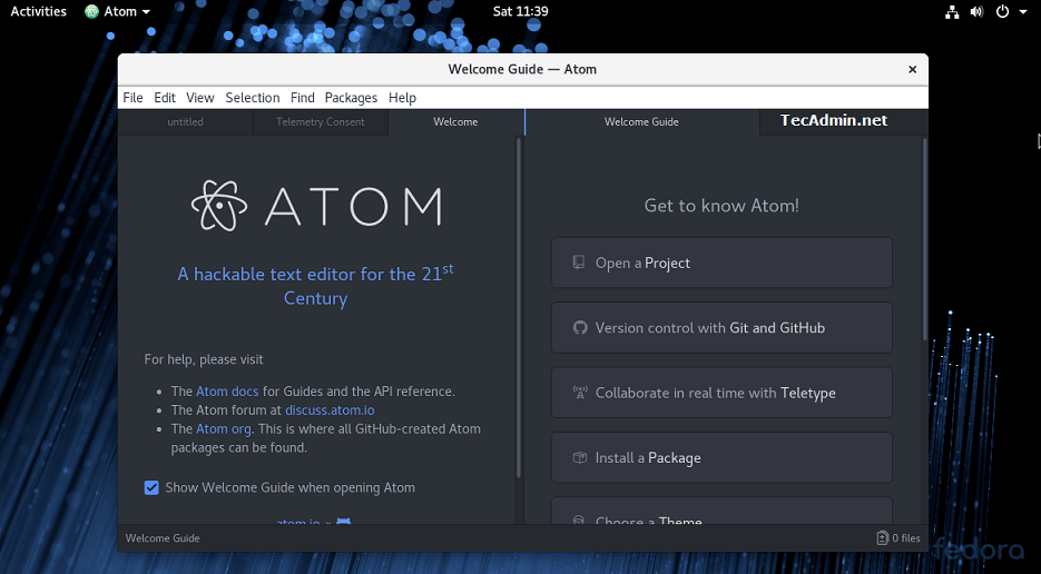 Atom Editor on Fedora
