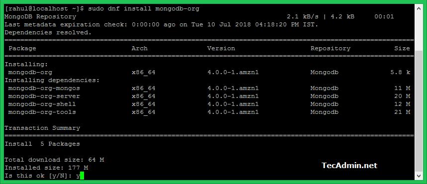 Dnf install Mongodb on Fedora