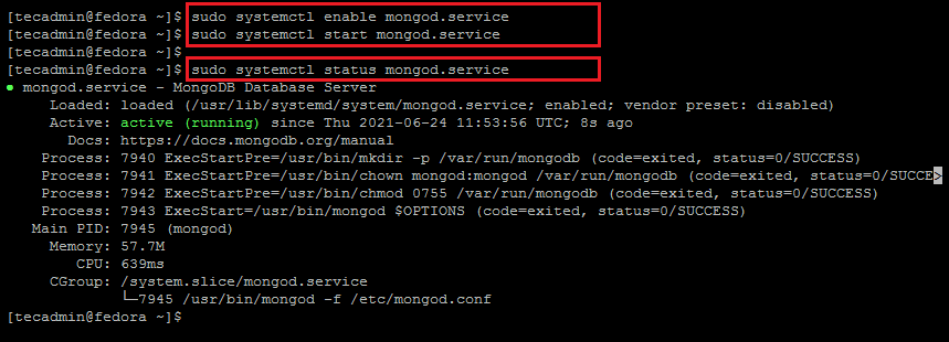Manage MongoDB service in Fedora