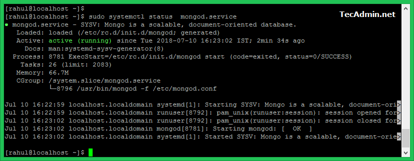 MongoDB service on Fedora