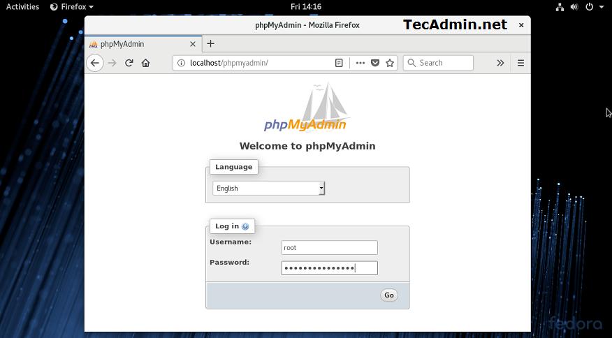Install phpmyadmin on fedora