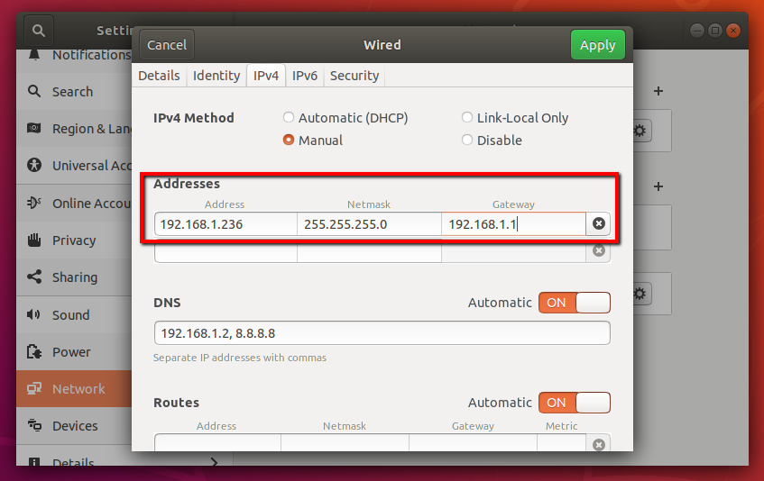 Ubuntu set IP address
