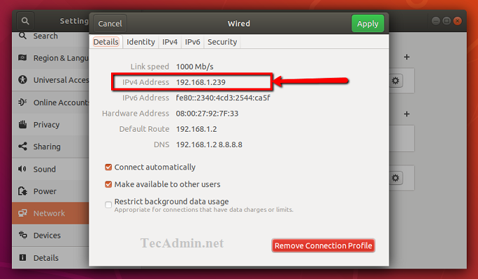 View Ubuntu Local IP Address