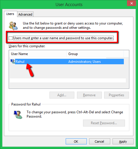 autologin windows 8